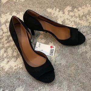 H&M Black Peep Toe Heels  - Size 8/39 - NWT